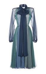 Luisa Beccaria Bow Tie A Line Dress Blue