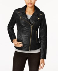 Guess Asymmetrical Leather Moto Jacket Black