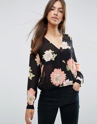 Asos Wrap Blouse In Large Floral Multi