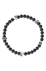 King Baby Studio Onyx And Skull Bead Bracelet