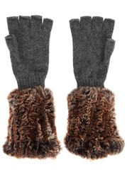 Hockley Domina Fur And Cashmere Fingerless Gloves Grey