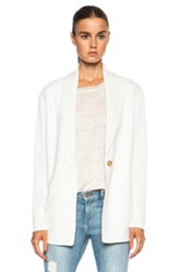 Vince Shawl Collar Wool Blend Cardigan In White