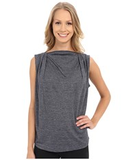 Zobha Sleeveless Drape Top W Zipper Neckline Black Iris Women's Sleeveless