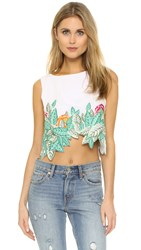 Mara Hoffman Leaf Embroidery Crop Top White Multi