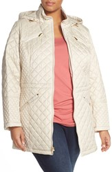 Plus Size Women's Laundry By Design Hooded Zip Front Quilted Coat Pearl