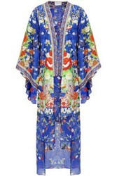 Camilla Woman Crystal Embellished Embroidered Silk Jacquard Jacket Bright Blue