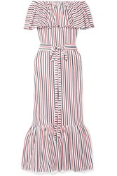 Mds Stripes Rebecca Off The Shoulder Ruffled Striped Cotton Jersey Midi Dress Red
