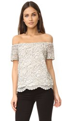 Wayf Ranger Off Shoulder Lace Top Ivory Black