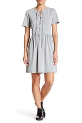 English Factory Lace Up Knit Baby Doll Dress Gray