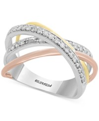 Effy Diamond Tri Color Overlap Ring 1 4 Ct. T.W. In 14K Gold White Gold And Rose Gold Multi