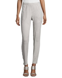 Lafayette 148 New York Suede Track Pants W Piping