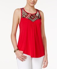 Amy Byer Bcx Juniors' Embroidered Pleated Tank Top