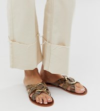 Warehouse Cross Front Sandals With Ring Detail In Snake Grey