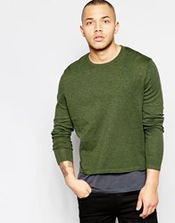 Asos Cotton Jumper In Cropped Fit Khaki Green