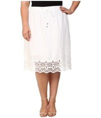 Vince Camuto Plus Plus Size Tropical Rain Drawstring Skirt W Border Eyelet Ultra White Women's Skirt