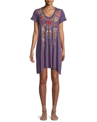 Johnny Was Simona Embroidered Jersey Blend Tunic Dress Plus Size Plumberry