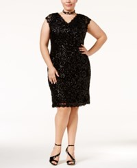 Betsy And Adam Plus Size Sequined Lace Sheath Dress Black Sequin