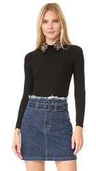 Alice Olivia Brooke Embroidered Bird Collar Sweater Black Multi