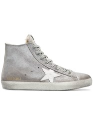 Golden Goose Deluxe Brand Silver Sheepskin Lined Suede High Top