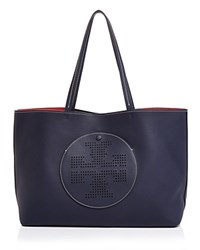 Tory Burch Perforated Logo Leather Tote Royal Navy