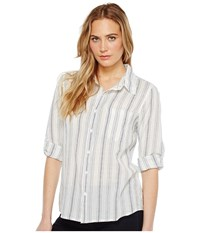 Dylan By True Grit Sea Stripes One Pocket Roll Sleeve Shirt White Indigo Women's Long Sleeve Pullover