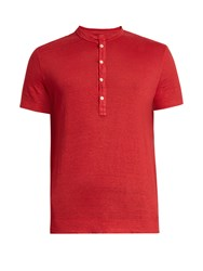 120 Lino Henley Linen T Shirt Red