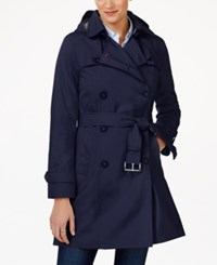 Tommy Hilfiger Hooded Water Resistant Trench Coat Navy