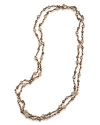 Carolee Beaded Necklace 72 Brown Gold