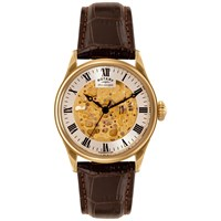 Rotary Gs02941 03 Men's Skeleton Leather Strap Watch Brown Champagne