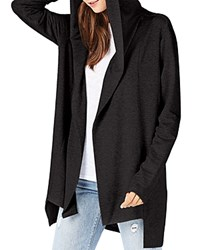 Michael Stars Draped Open Front Hoodie Black