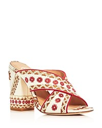 Ash Adel Embroidered Crisscross High Heel Slide Sandals Off White Coral