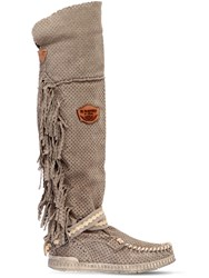 El Vaquero 70Mm Delilah Fringed Suede Wedge Boots Taupe