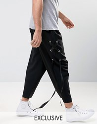 Reclaimed Vintage Relaxed Trousers With Laced Ribbon Black