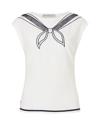 Sugarhill Boutique Ahoy Embroidered Top White