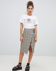 Bershka Check Wrap Skirt Multi