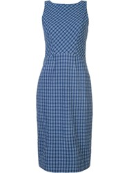 Altuzarra Fitted Checked Dress Blue