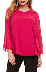 Evans Plus Size Women's Flute Sleeve Dobby Top Pink