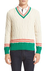 Paul Smith Men's Cable V Neck Sweater