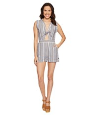 Brigitte Bailey Kendall Sleeveless Romper With Front Tie Chambray Cream Women's Jumpsuit And Rompers One Piece Blue