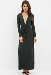 Forever 21 Twist Front Maxi Dress Emerald