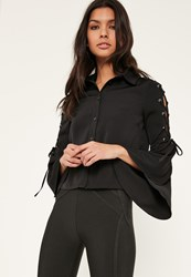 Missguided Petite Black Lace Up Ruffle Sleeves Blouse