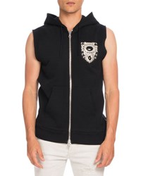 Balmain Embellished Crest Sleeveless Zip Up Hoodie Vest Black