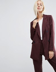 Asos Double Breasted Blazer In Pinstripe Burgundy Red