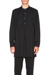 Engineered Garments Banded Brushed Twill Long Collar Button Up In Black