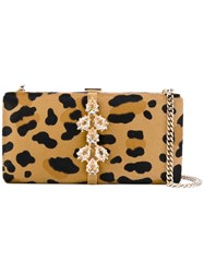 Dsquared2 Jewelled Clutch Bag Women Brass Racoon Fur One Size Nude Neutrals