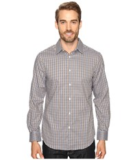 Perry Ellis Checkered Dobby Shirt Otter Men's Clothing Brown
