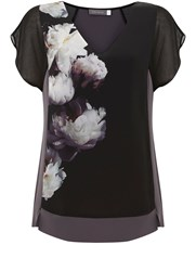 Mint Velvet Luna Print Silk Front Tee Multi Coloured Multi Coloured