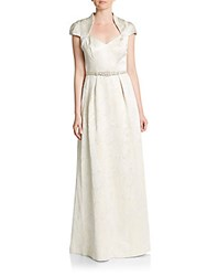 Theia Embellished Cap Sleeve Gown Cream