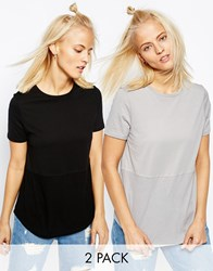 Asos Contrast Ribbed Panel T Shirt 2 Pack Save 10 Black Grey Solid