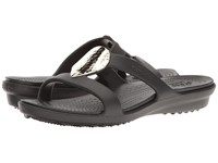 Crocs Sanrah Embellished Sandal Black Silver Metalic Women's Sandals